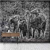 写真の壁紙3D立体空間カスタム大規模な壁紙の壁紙 手描きの象の壁の装飾リビングルームの寝室の壁紙の壁の壁画の壁紙テレビのソファの背景家の装飾壁画-400X280cm