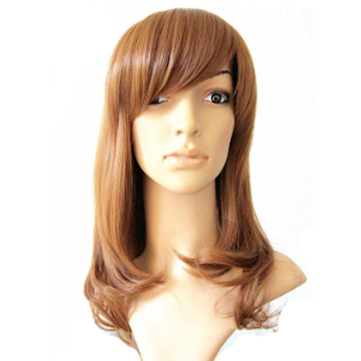 セラーグレートバリアリーフ方向Koloeplf 45cmロングウィッグヘアスタイルバックルフラットバングと梨花のヘアリーカーリーウィッグライトブラウン - ナチュラルウィズウィッグ (Color : Light brown)