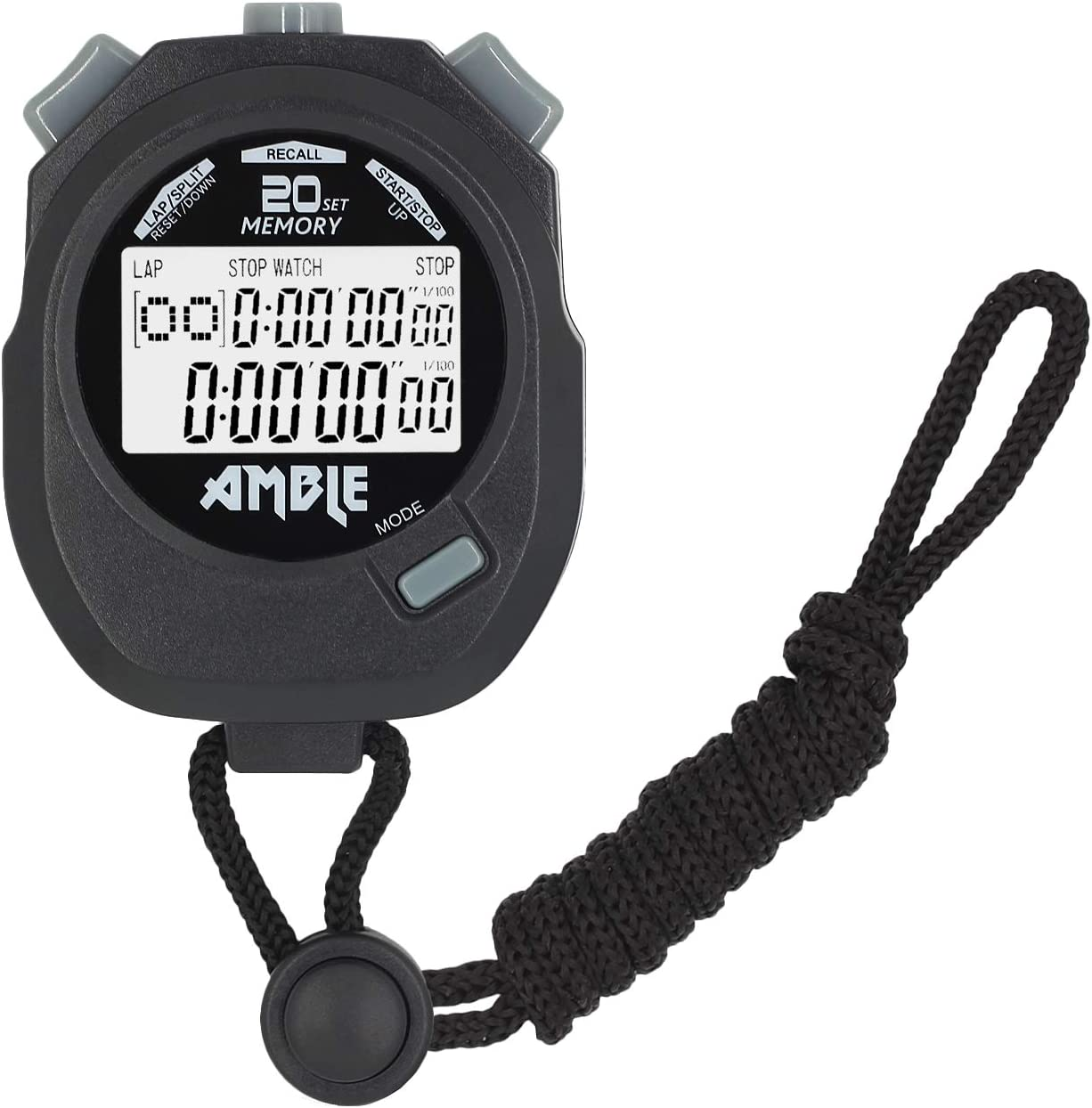 Amble Stopwatch, Countdown Timer and Stopwatch Record 20 Memorie