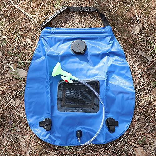 ZSDFW Bolsa de ducha solar con manguera extraíble de 20 l con calefacción solar, bolsa de ducha de alta calidad para acampar de verano, camping, senderismo, viajes al aire libre, color azul