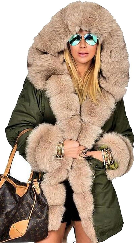 GAGA Womens Winter Coat Jacket Down Faux Fur Collar Warm Long Hooded Outwear