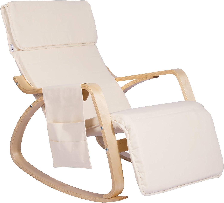 WOLTU Schaukelstuhl SKS02cm Relaxstuhl Sessel Schaukelsessel Schwingsessel 5-Fach verstellbares Futeil mit Seitentasche Leinen Holz Cremewei