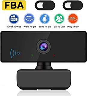 HD Webcam 1080P with Microphone,USB Web Camera with Zoom/Mic for Computer Desktop PC Laptop Mac Windows 10 Skype Streaming,Autofocus/110° View Angle/360 Swivel for Online Video Calling Conferencing