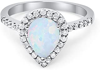 Blue Apple Co. Halo Teardrop Bridal Filigree Ring Pear Round Cubic Zirconia 925 Sterling Silver