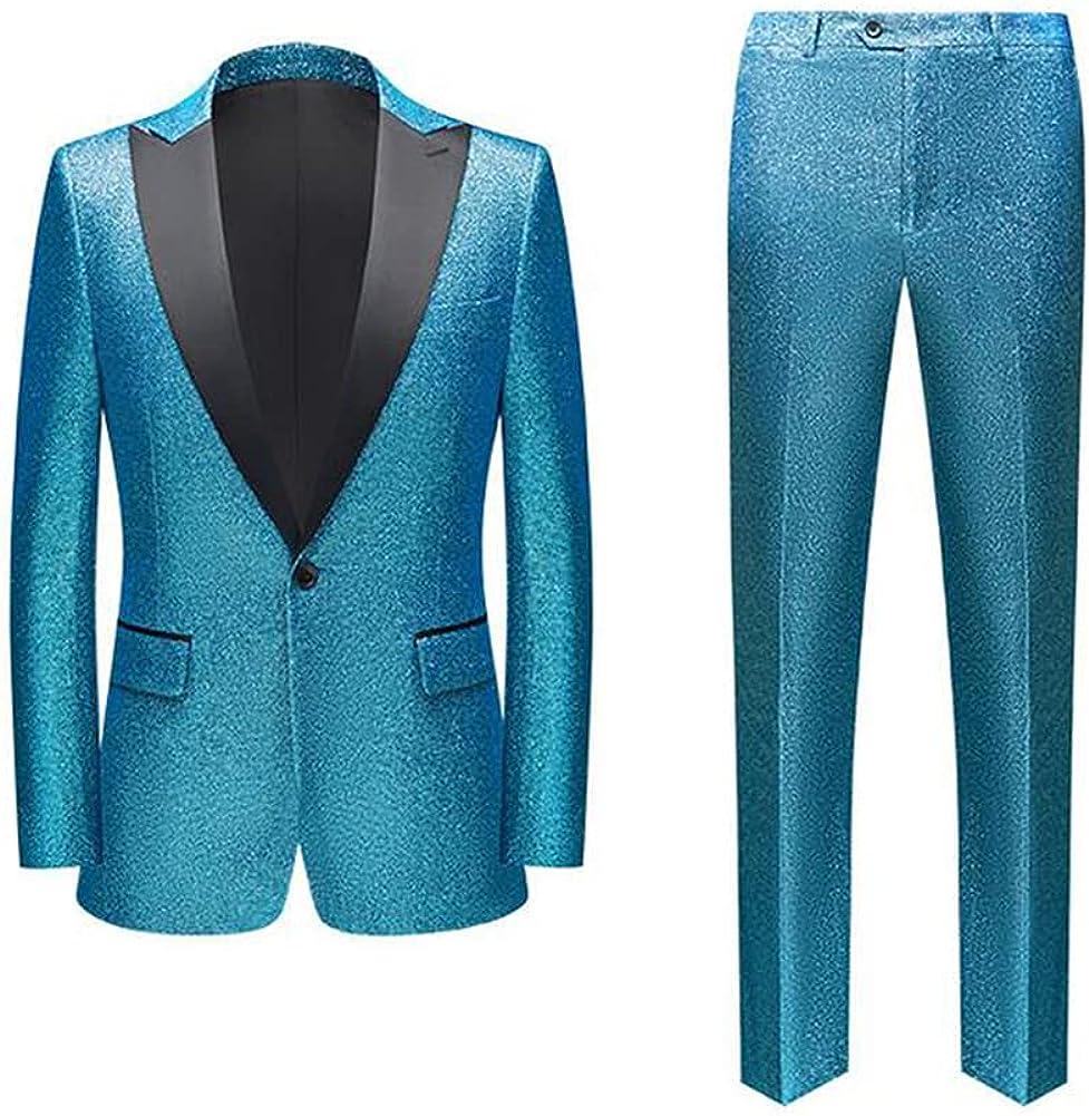Men's Slim Fit One Button 2 Pieces Business Suit Sequin Stage Suit Party Suits