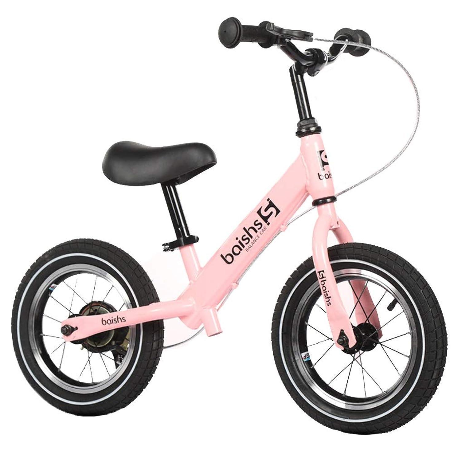 地域劣る言語バランスバイク 手動ブレーキ付きキッズバランスバイク - 2、3、4、5、6歳用キッズ自転車、軽量空気入りタイヤ (Color : Pink)
