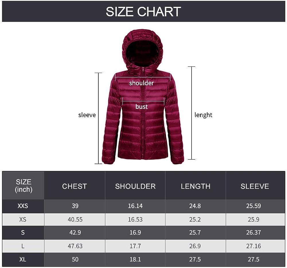 ZITY Packable Down Jacket Women Hooded Stand Collar Lightweight Water-Resistant Coats