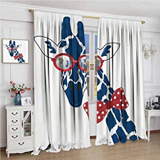 Giraffe Wildlife Animal Decor For bedroom blackout curtains Fun Whimsical Funny Giraffe Wearing Hipster Sunglasses and Bowtie Blackout curtains for the living room W108 x L72 Inch Navy Red White