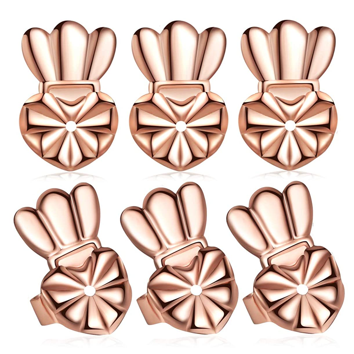 Hypoallergenic Earring Lifters Drooping Earring Backs, Large Post Stud Earring Backings Rose Gold Plated 3 Pairs/Set fdymi0473