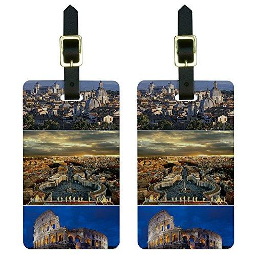 Graphics & More Gepäckanhänger, Motiv City of Rome, Italien-Colloseum-Saint Peters, quadratisch, Multi (Weiß) - Luggage.Tags.5033