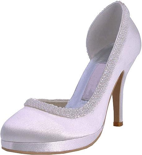 ZHRUI Bombas para mujer zapatos de tacón de Aguja con Punta rojoonda y tacón de Aguja Nupciales (Color   blanco-10cm Heel, tamaño   6 UK)