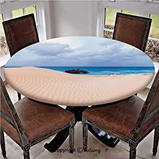 Elastic Edged Polyester Fitted Table Cover,Boat Crash by Exotic Tropical Beach in African Shore Dream Atlantic Ocean Photo,Fits up to 36