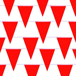 Lamee 130 Feet Red Pennant Banner Flags Cloth Blank Indoor Outdoor Party Decorations Supplies (1 Pieces of 130 Feet)