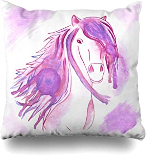 NBTJZT Pink Purple Color Watercolor Lilac Abstract Horse Head Flying Artistic Blot Design Happy Home Decor Cushion Case Square Size 16
