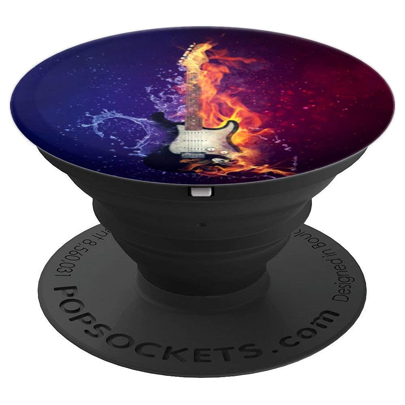 Metal Electric Guitar - Black & White - Colorful Background - PopSockets Grip and Stand for Phones and Tablets t65116567878