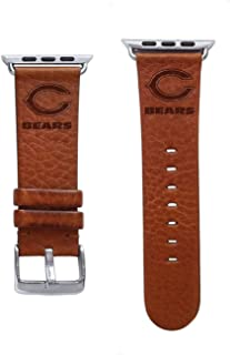 Game Time Chicago Bears Tan Leather Band Compatible with Apple Watch - 42mm/44mm Long