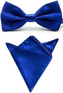 Men Satin Solid Color Pre-tied Tuxedo Bowtie Bow Tie Handkerchief Pocket Square Set (Royal Blue)