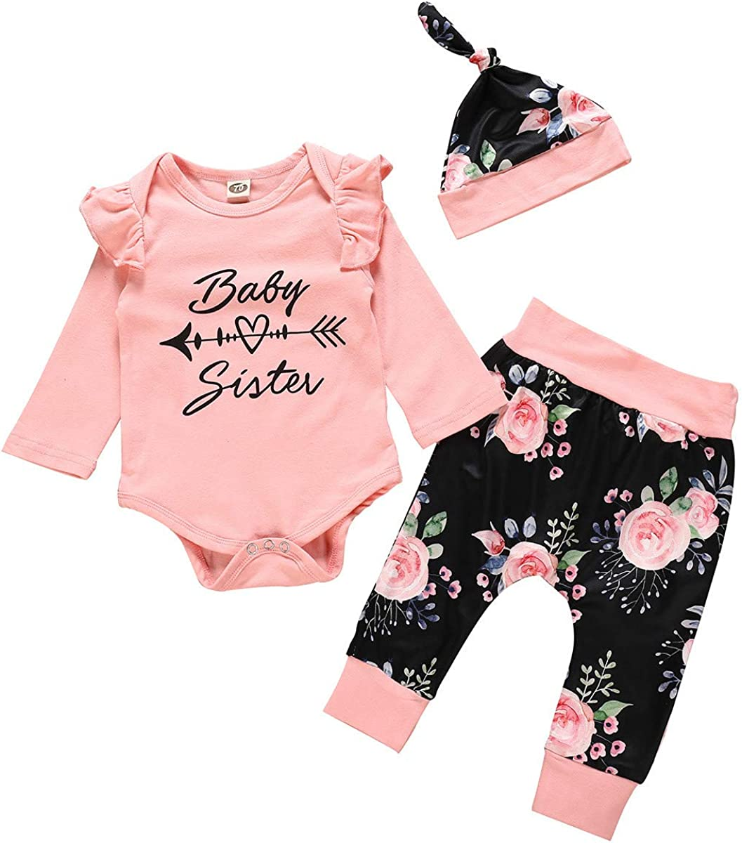Ropa Bebe Niña Otoño Invierno 0 a 3 6 12 18 24 Meses de Recién Nacido - 3PC/ Conjuntos - Florales Mono de Manga Larga + Pantalones + Diadema