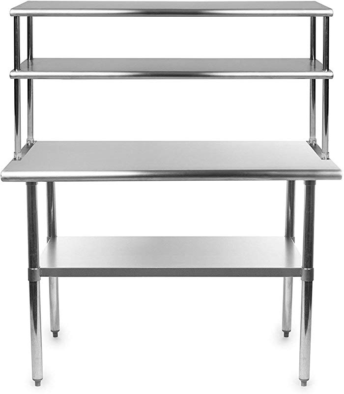 Stainless Steel Work Prep Table 24 X 48 With Adjustable Double Overshelf 14 X 48
