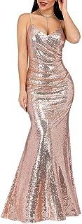 Ever-Pretty Vestido Sirena de Fiesta de Noche Largo para Mujer con Lentejuelas Cuello en V 07339