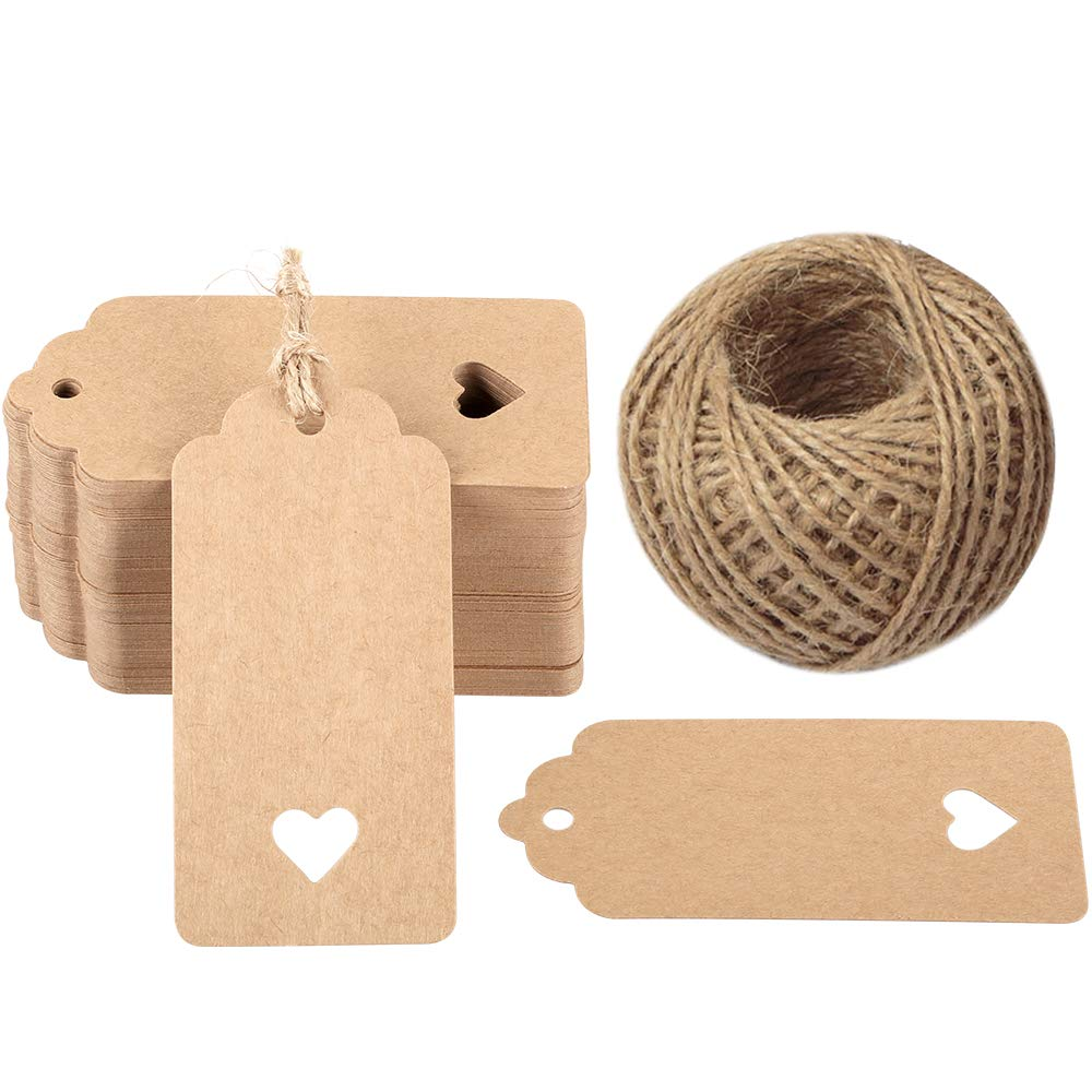 specialty shop Brown Gift Tags 100 Selling PCS Heart Weddi Hollow Paper Kraft