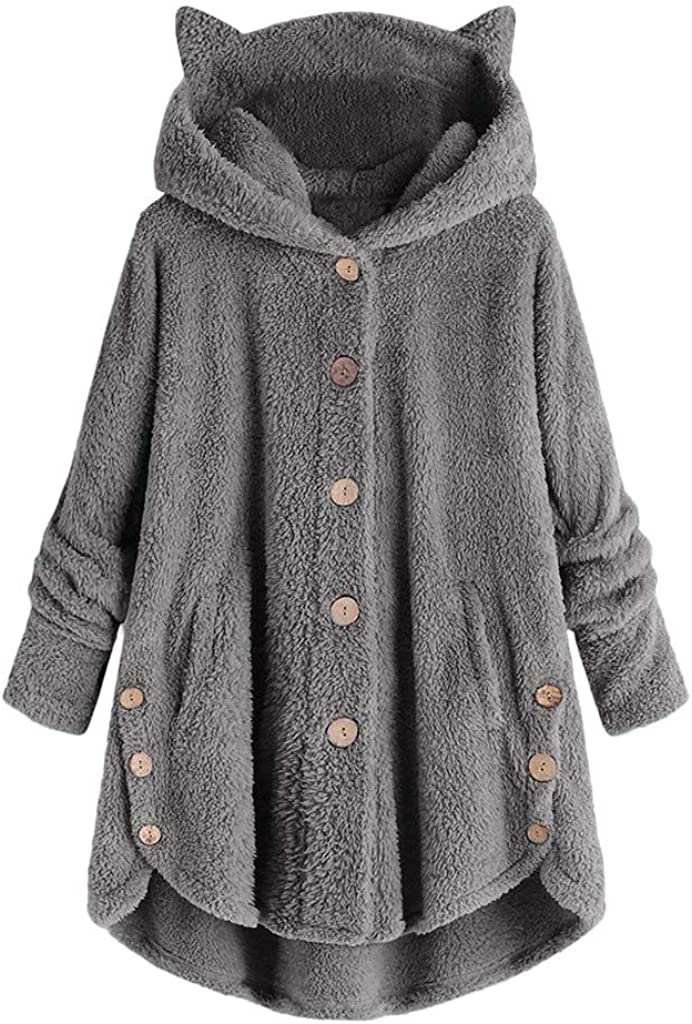 Women's Hooded Coats Plus Size Winter, SOMESHINE Button Coat Fluffy Tail Tops Hooded Pullover Hoodies Loose Sweater Blouse