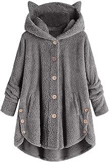 KIZOOM Women Plus Size Hooded Pullover Faux Fur Coats Long Teddy Bear Jacket Button Fluffy Sweatshirts Loose Sweater
