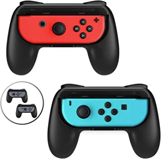 Beastron Grips Compatible with Nintendo Switch Joy Cons, Wear-Resistant Handle, 2 Pack (Black)