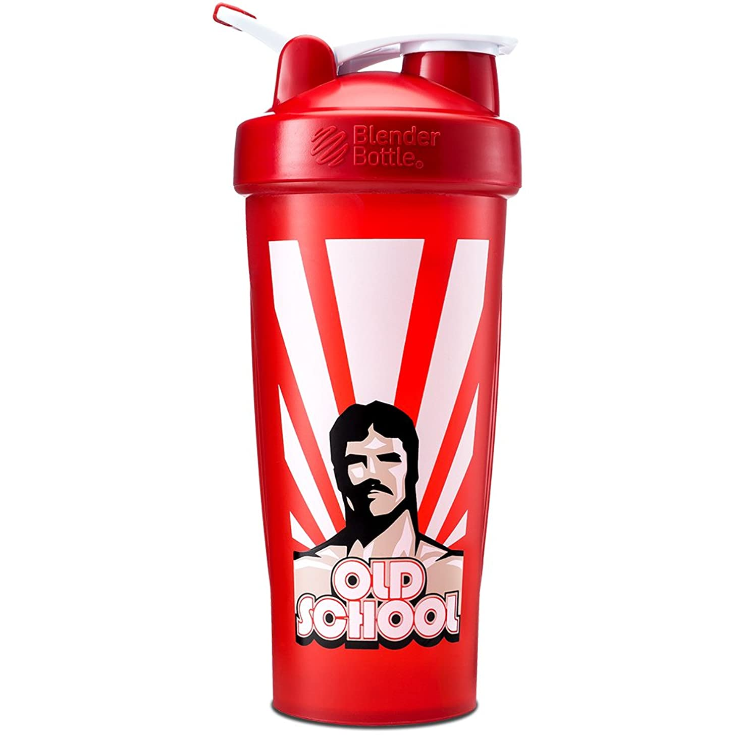 Old School Labs BlenderBottle 28oz Shaker - Silky Smooth Protein Shakes Even When the Power's Out, Prevents Embarrassing Protein Mustaches, Fights Zombies - BPA-Free - Old School Red