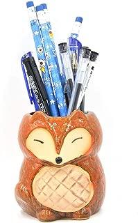 Sunny Lingt Ceramic Fox Shaped Pen Container Pencil Cup Brush Organiser Remote Control Holder Succulent Plant Pot Cactus Pot Desk Tidy Organizer Decoration Ornaments