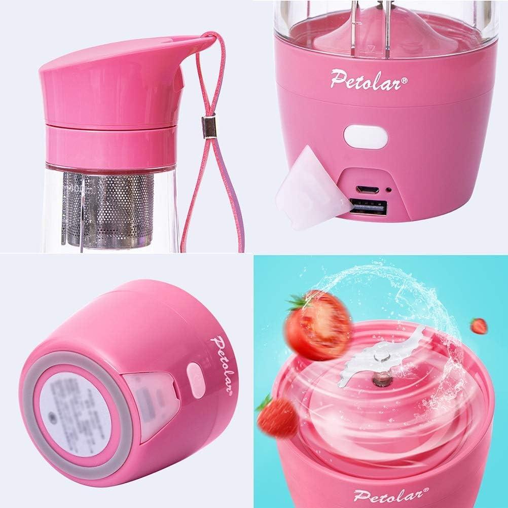 Blender Portátil Juicer Cup Smoothie Mixer Extractor Cuchilla de Acero Inoxidable Recargable Adecuada para Viajes Batidos Personales de Jugo 430 Ml, O&YQ, Rosado Púrpura