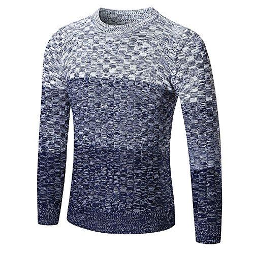 Knitwear Outwear Victorcn Men's Autumn Winter Braiding Sweater Pullover Slim Jumper Blouse (L, Navy)