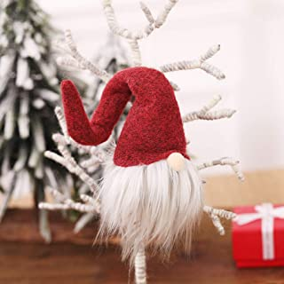 JMcall 2020 Christmas Faceless Gnome Santa Xmas Tree Hanging Ornament Doll Decoration(Color:Red gray & Material:cloth)