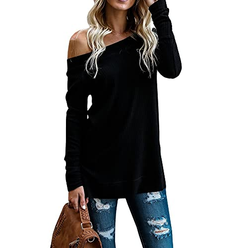 16f313bb83016 Beautife Womens Sweaters Off Shoulder Casual Oversized Long Sleeve Knit  Pullovers Tunic Tops