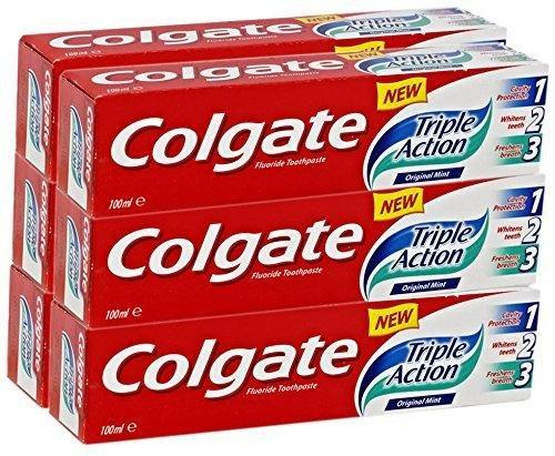 6x Colgate Triple Action Fluorid-Zahnpasta Original Mint 100ml