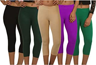 Fablab Casual Capri for Girls_Women_Ladies_ Solid Color_Above Knee Length (Capri_CLS_190-5-7BBrBePuG,Free Size,BlackBrownBeigePurpleGreen)
