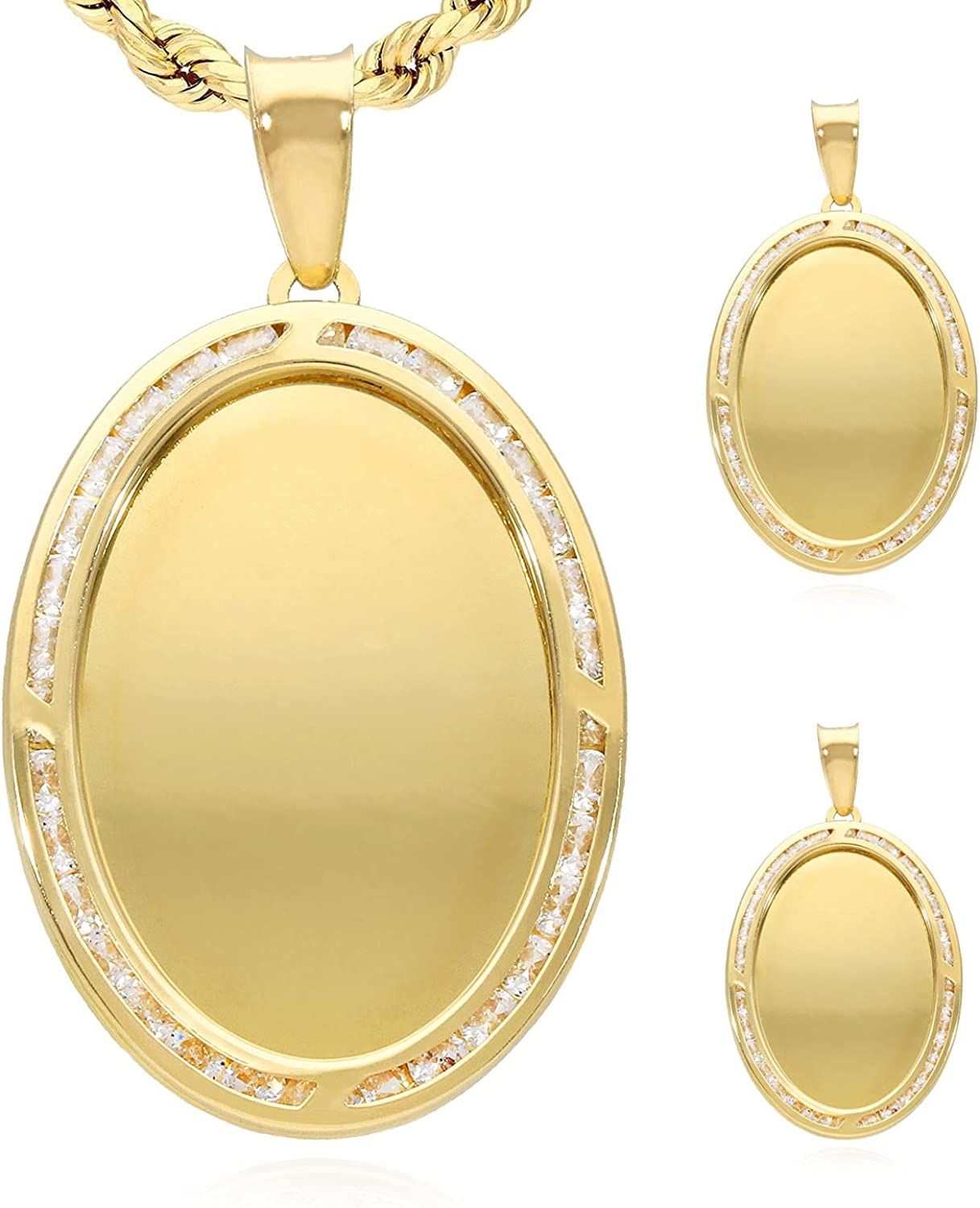 10K Yellow Gold Created Diamond Oval Memory Picture Medallion Pendant 1.2