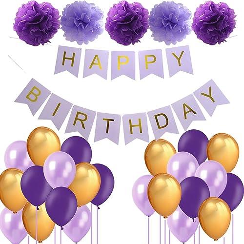Purple Birthday Decorations Lavender Decor Happy Banner Pom Poms Tissue Paper Flowers Party