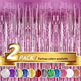 BTSD-home Pink Foil Fringe Curtain, Metallic Photo Booth Backdrop Tinsel Door Curtains for Wedding Birthday Bridal Shower Baby Shower Bachelorette Christmas Party Decorations(2 Pack, 6ft x 8ft)