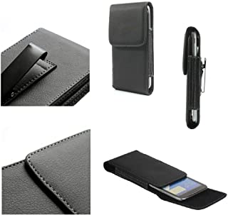 DFV mobile - Leather Flip Belt Clip Metal Case Holster Vertical for Connect i401 - Black