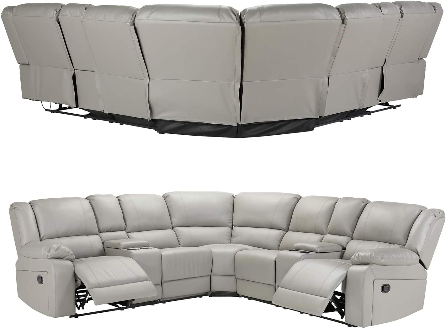 Fabric Grey Premium Foam Filling Soft Fabrics Top Manual Reclining Sectional Sofa w//Cup Holder and Coffee Holder Console Living Room Sofa Set
