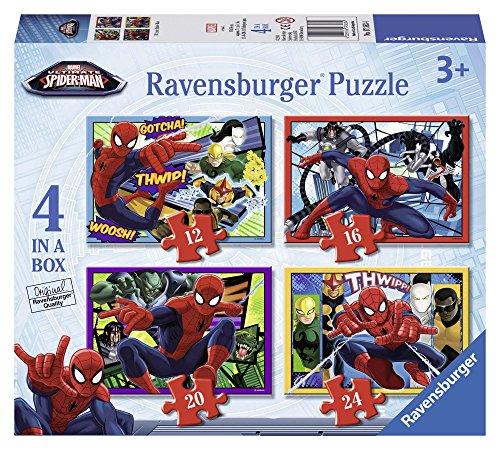 Ravensburger Puzzle, Ultimate Spider-Man, 4 Puzzle in a Box, 12-16-20-24 Pezzi, Puzzle per Bambini, Puzzle Spiderman, Età Consigliata 3+ Anni