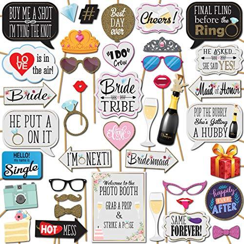 Bridal Shower and Bachelorette Party Wedding Photo Booth Props 41 Pieces with Wooden Sticks and Strike a Pose Sign by…