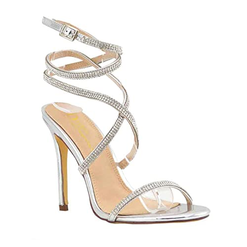 e2415193b8 Olivia and Jaymes Women's Embellished Rhinestone Strappy Crisscross Ankle  Strap Open Toe Stiletto Heel Sandal Shoes