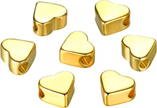 30PCS Silver/Gold Heart European Small Hole Spacer Beads Fits DIY Handmade Charms Bracelets Accessories (Gold)