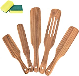 5 Pcs Wooden Spurtle Set Mad Hungry - Premium Natural Teak Wooden Spatula for Cooking, Heat Resistant Non Stick Wood Cookw...