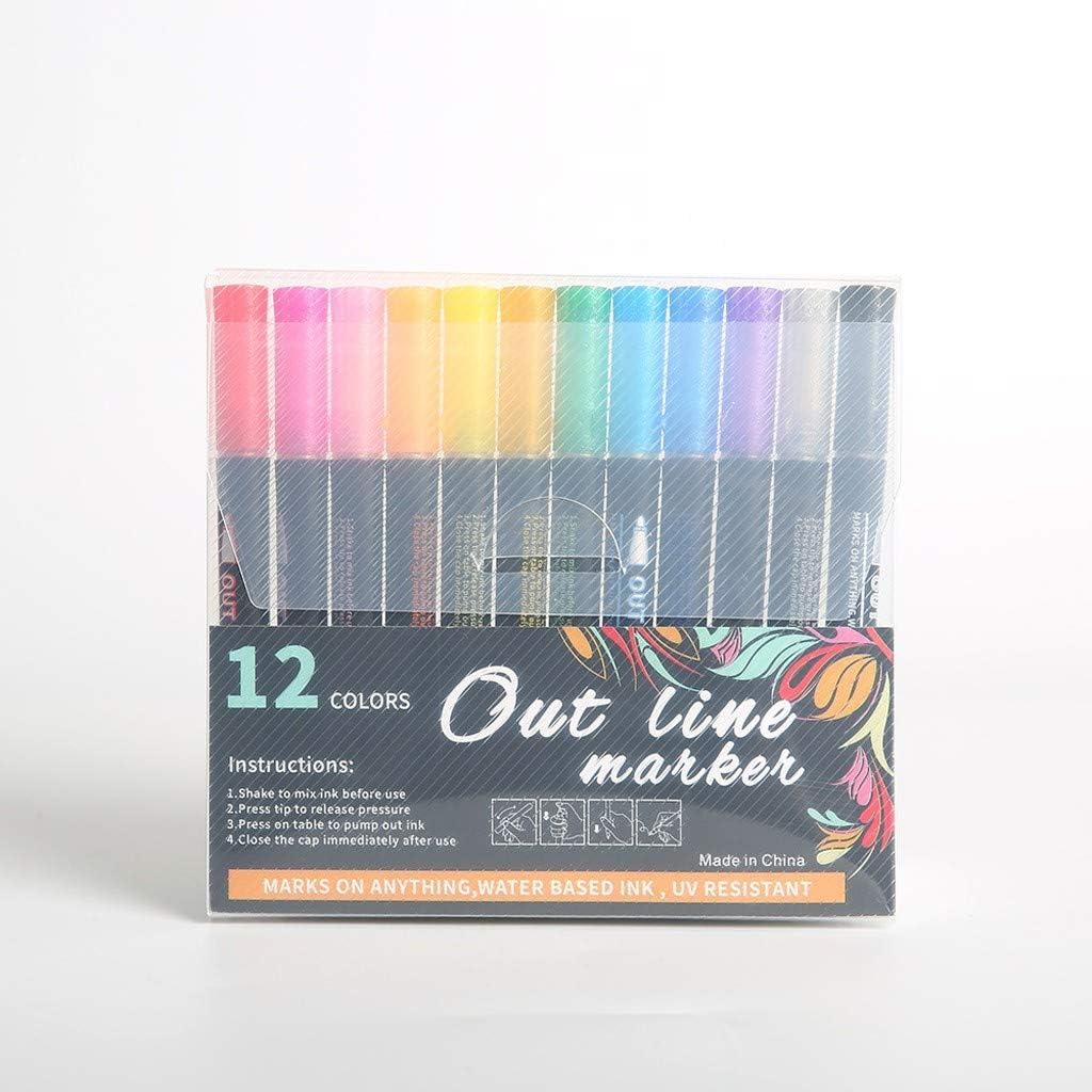 Scrapbooking Double Line Outline Pen for Card Making Drawing Kids Adults DIY Art Crafts Doodle Dazzles Shimmer Marker Set