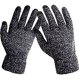YOMOSI ニットスマホ対応手袋 静電気防止 滑り止め付き防寒保温 裏起毛 タッチグローブ メンズ&レディース