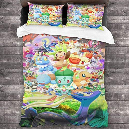 POMJK Pikachu Bed Linen Set, Pokémon Duvet Cover, 3D Print, Children's Animation Bed Linen, 3-Piece Set, 2 Pillowcases (A02, 200 x 200 cm + 50 x 75 cm x 2)