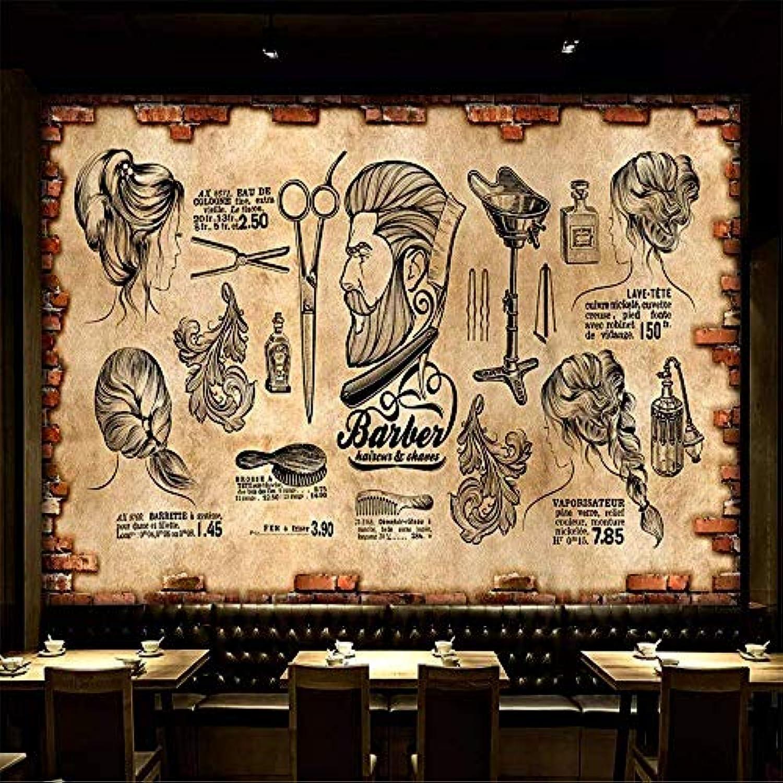 CFLEGEND Barbershop 3D Wallpaper Wandbild (Anpassbare Gre) Und Amerikanische Retro Wand Schne Frisur Friseurladen Bild Hintergrund Wand, 350X245 Cm (137,8 X96,5 Zoll)
